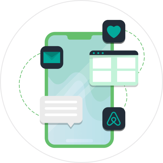 Airbnb automation on mobile app illustration